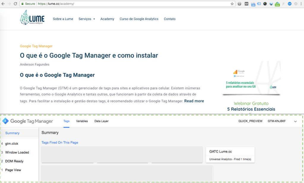 Preview do Google Tag Manager ativado no site
