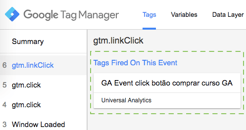 Registro da tag de Eventos do Google Analytics no debugger do Tag Manager