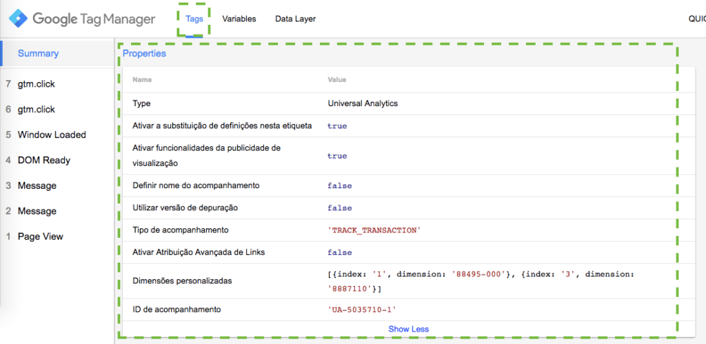 Detalhamento da tag de Transação do Google Analytics no Tag Manager