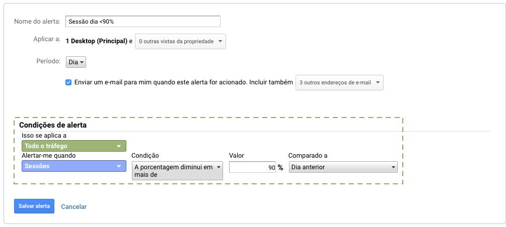 Configuração de alerta personalizado no Google Analytics