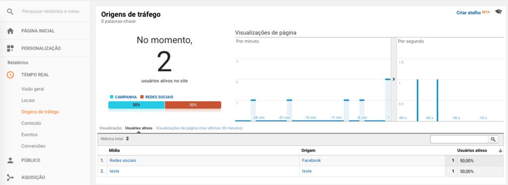 Relatório Origens de Tráfego em Tempo Real no Google Analytics
