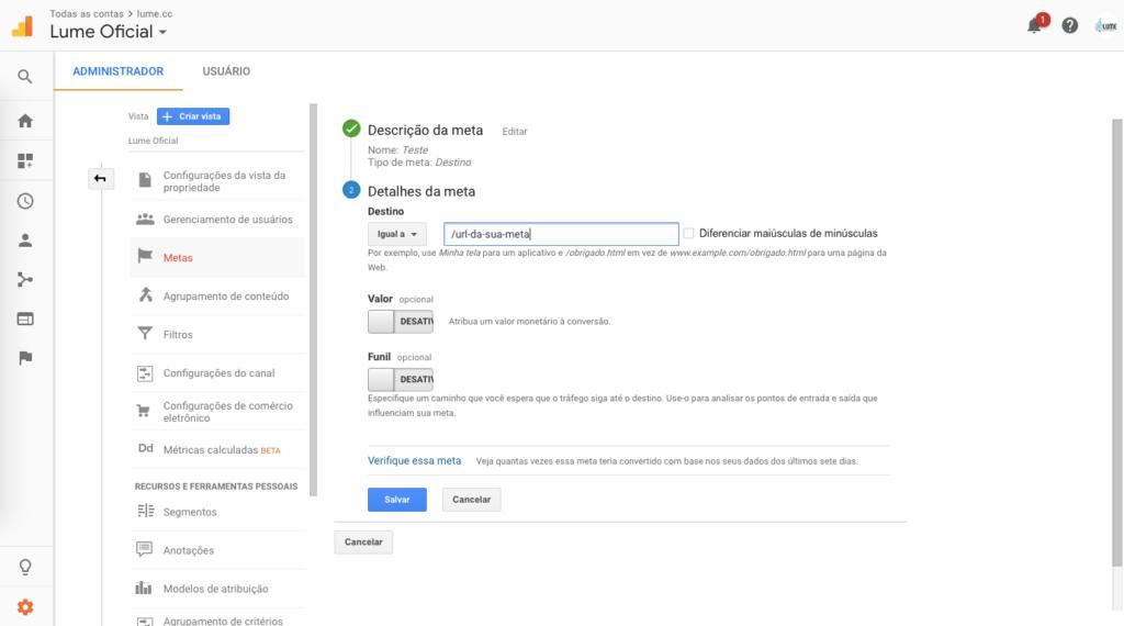 Configuração de meta por destino Google Analytics