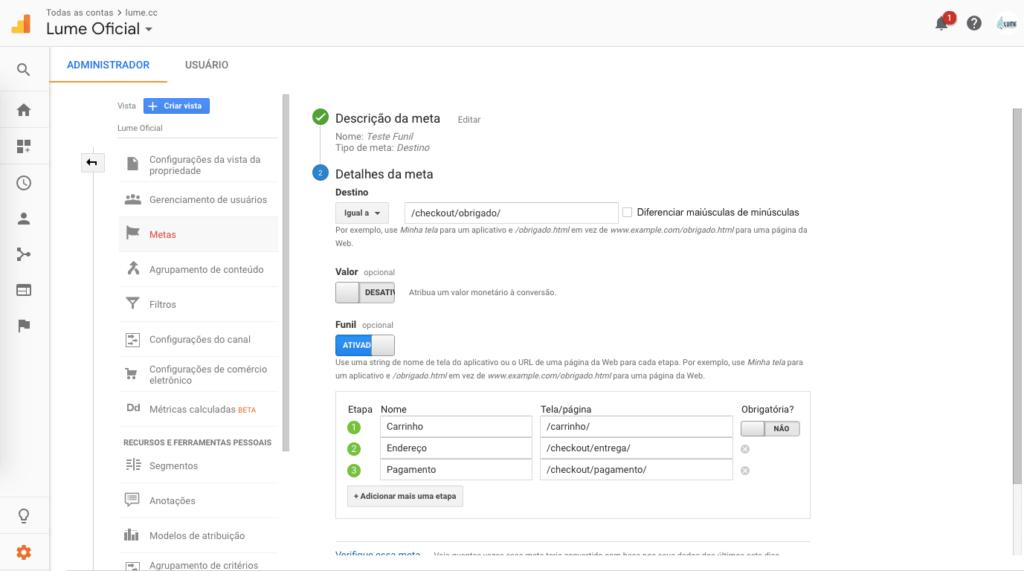 Configuração de funil de meta no Google Analytics