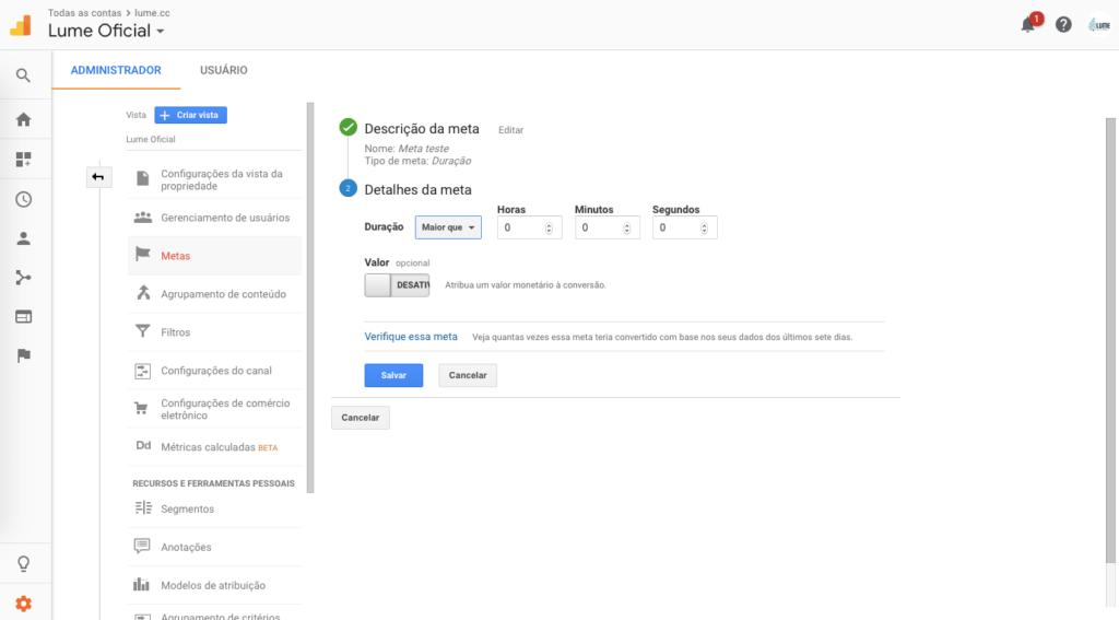 Configuração de meta por duração Google Analytics