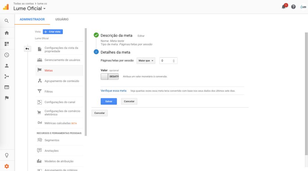 Configuração de meta por Páginas/Telas por sessão Google Analytics