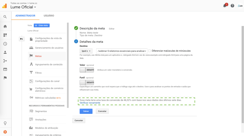 Destaque para Verificação de meta Google Analytics