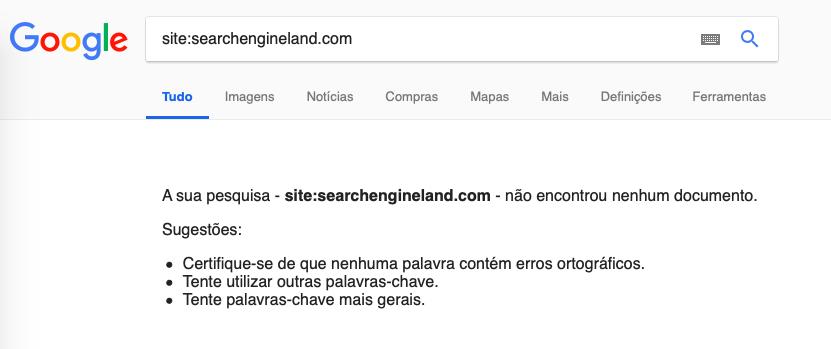 search engine land não indexada no Google em 30/11/18