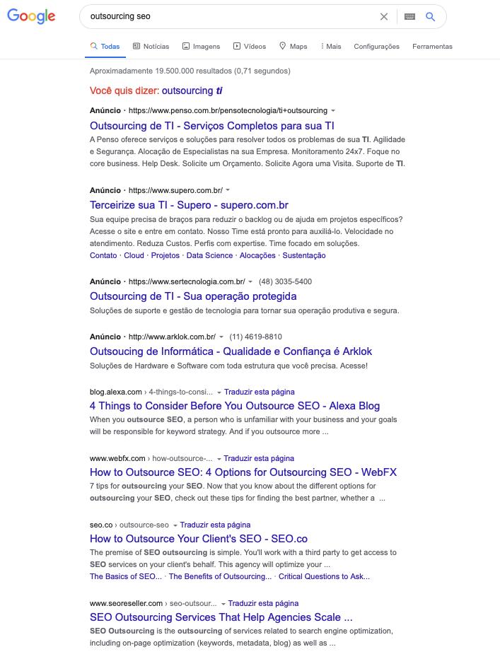 """Resultado no Google para """"Outsourcing de SEO"""" em 2021"""
